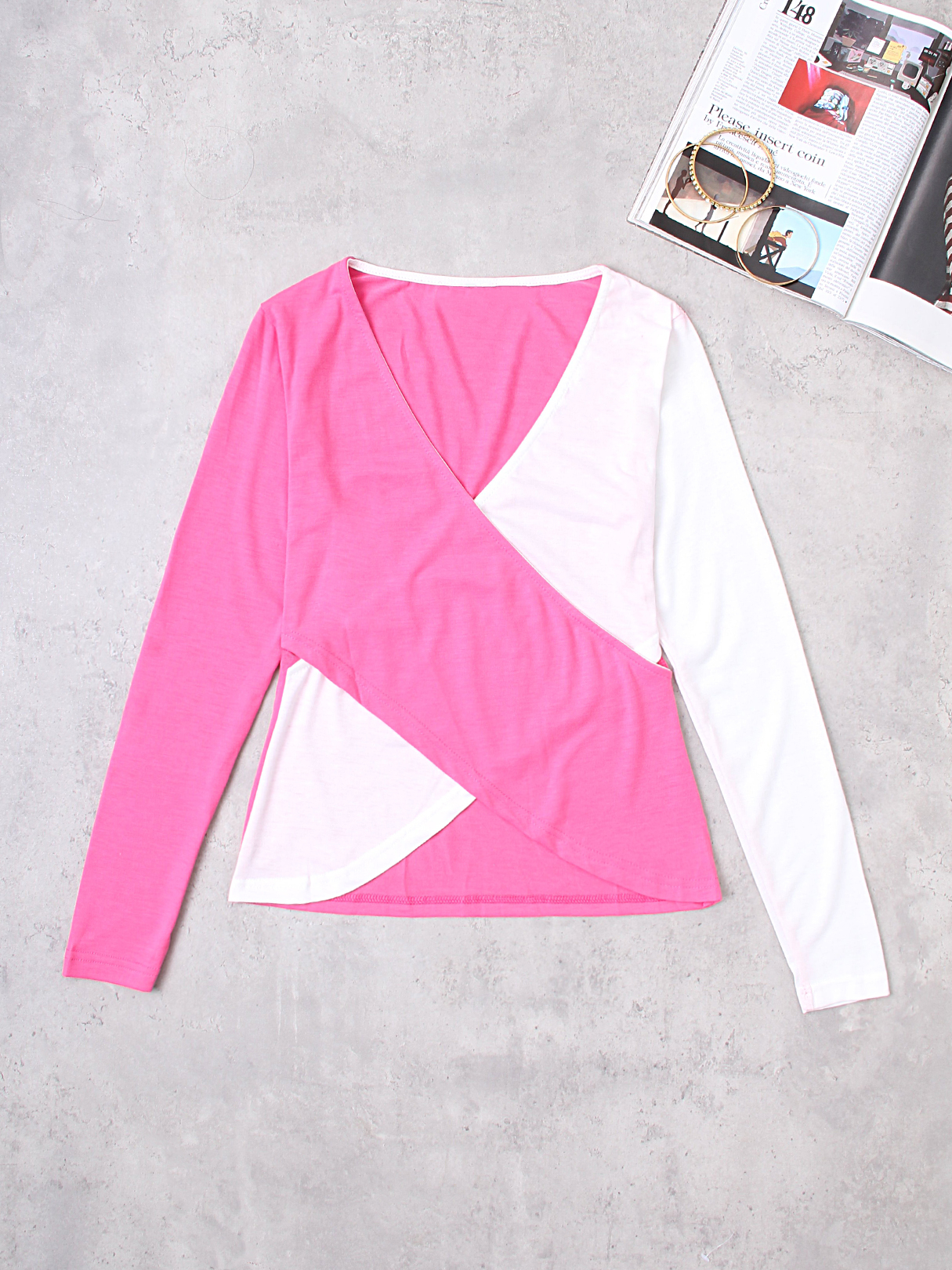 Rose And White Crossed Front Design V-neck Long Sleeves T-shirts