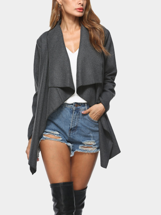 Dark Grey Open Front Lapel Collar Trench Coat lapel cotton trench coat