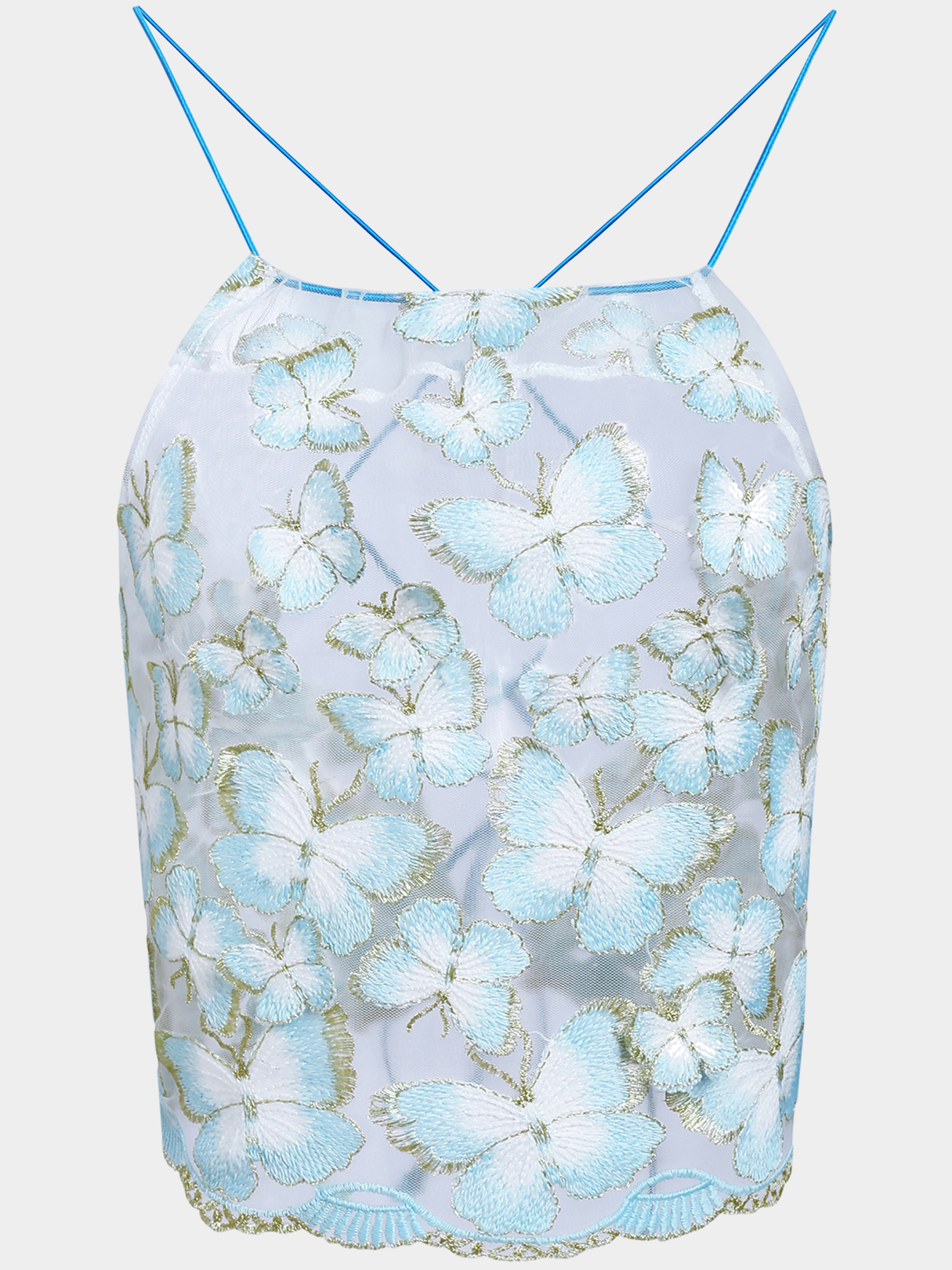 Butterfly Embroidery Sexy Halter Crop Top butterfly embroidery sexy halter crop top