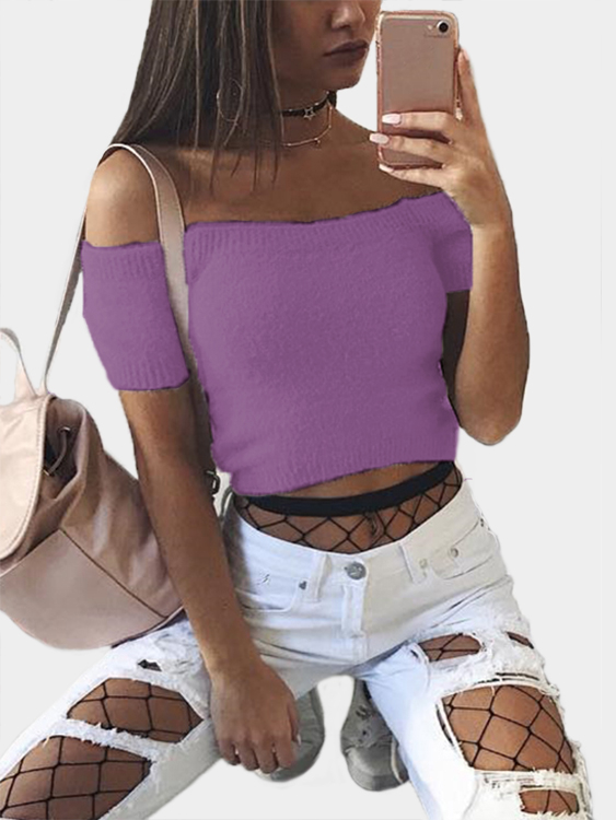 Purple Solid Color Off Shoulder Crop Bodycon Sweaters Vests pink solid color off shoulder crop bodycon sweaters vests