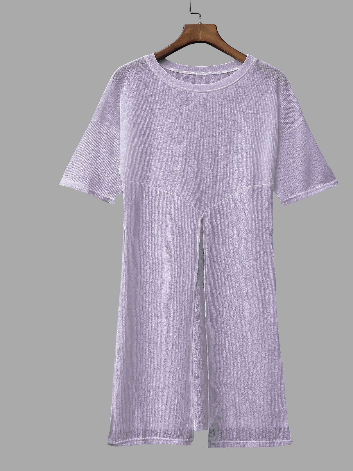 Knit Round Neck Splited Hem Top in Grey sitemap 53 xml