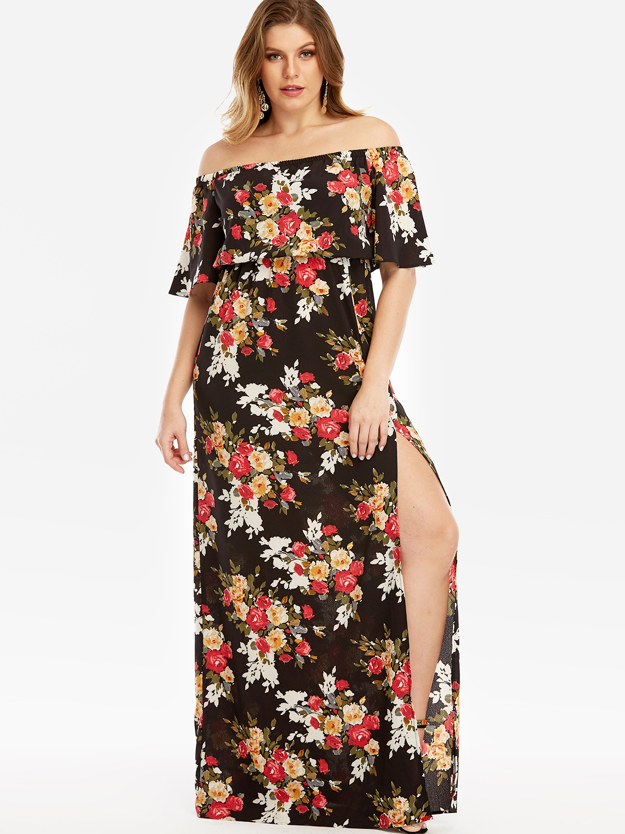 Black Floral Print Off The Shoulder Slit Hem Maxi Dress цена