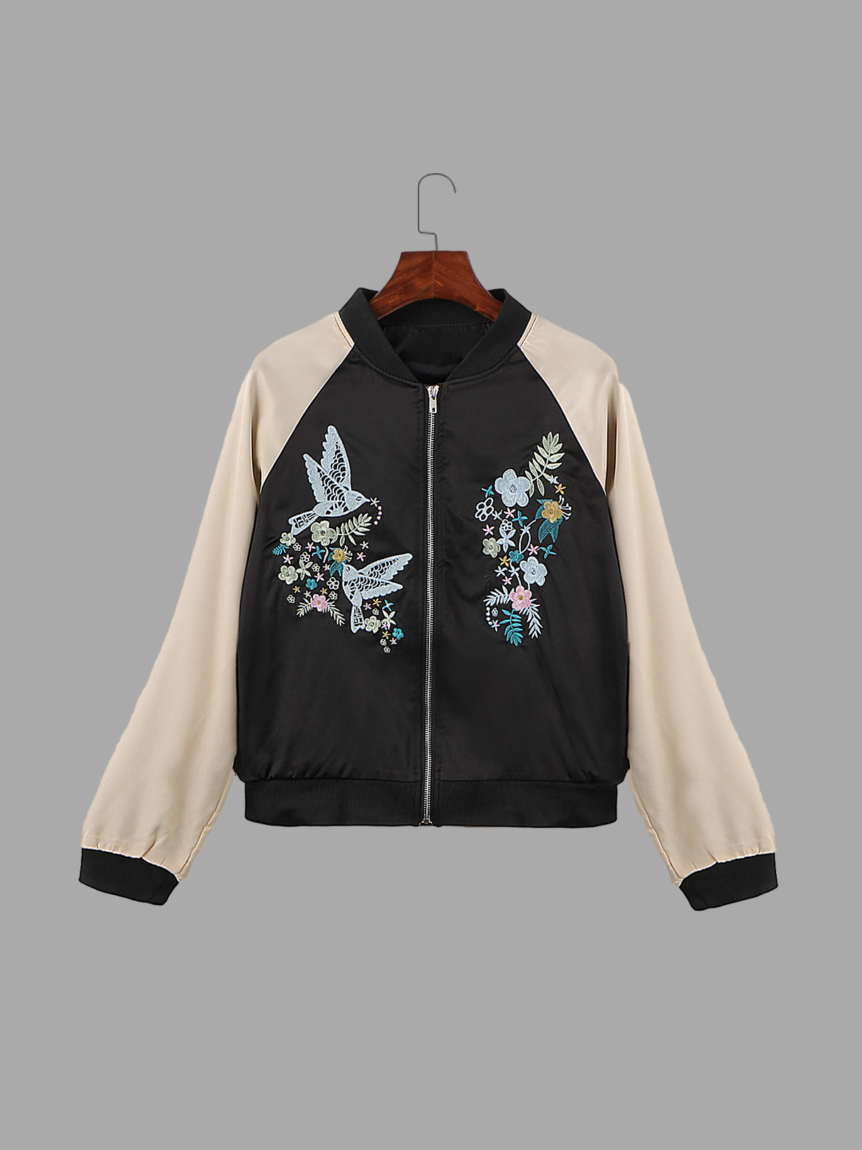 Embroidery Bird Pattern Zipper Front Jacket