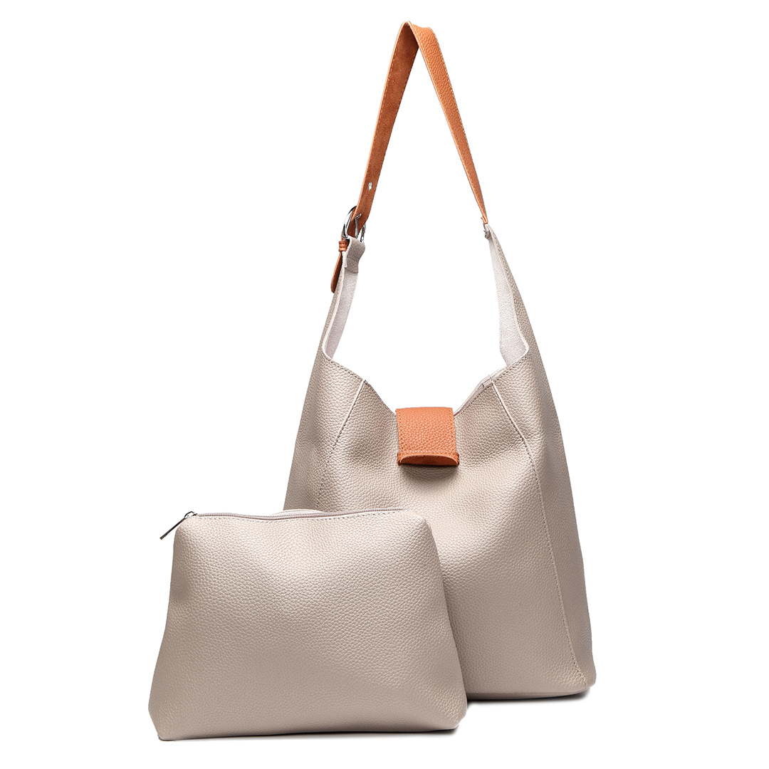 Gery Simple Shoulder Bag with Small Clutch bag
