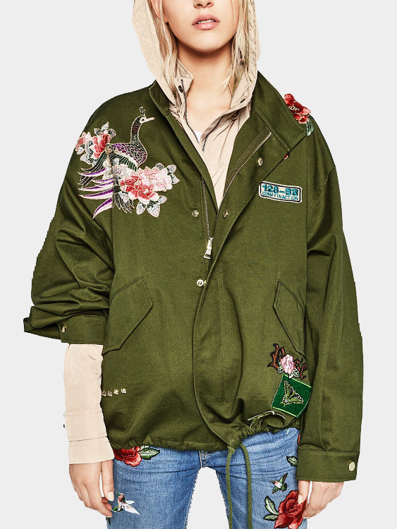 Army Green Rose Embroidery Pattern Long Sleeves Winter Outerwear cougar 530m army green