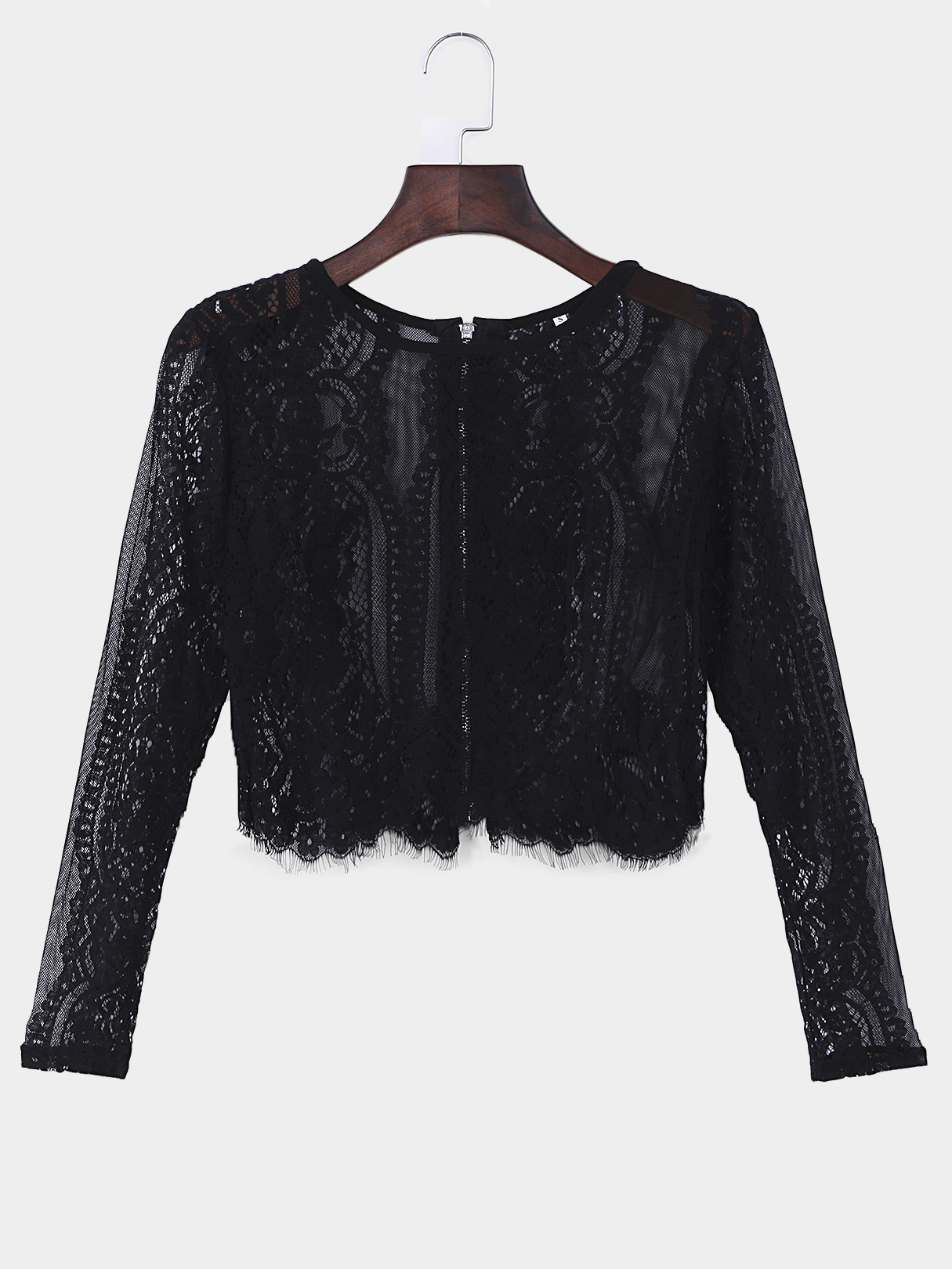 Black Sexy Crew Neck See-through Embroidered Long Sleeves Lace Top