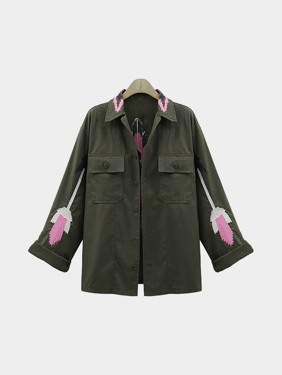 Army Green Trench Coat With Embroidery Pattern шины yokohama iceguard stud ig35 235 55 r18 104t xl