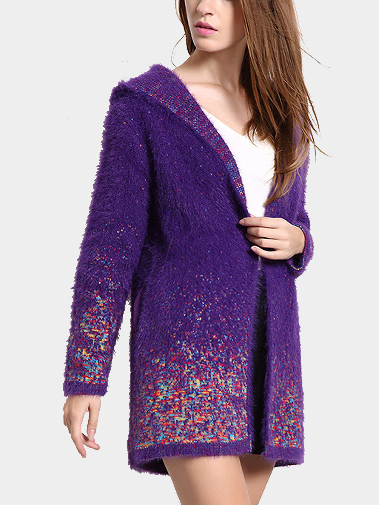 Purple Hooded Cardigan with Colorful Pattern