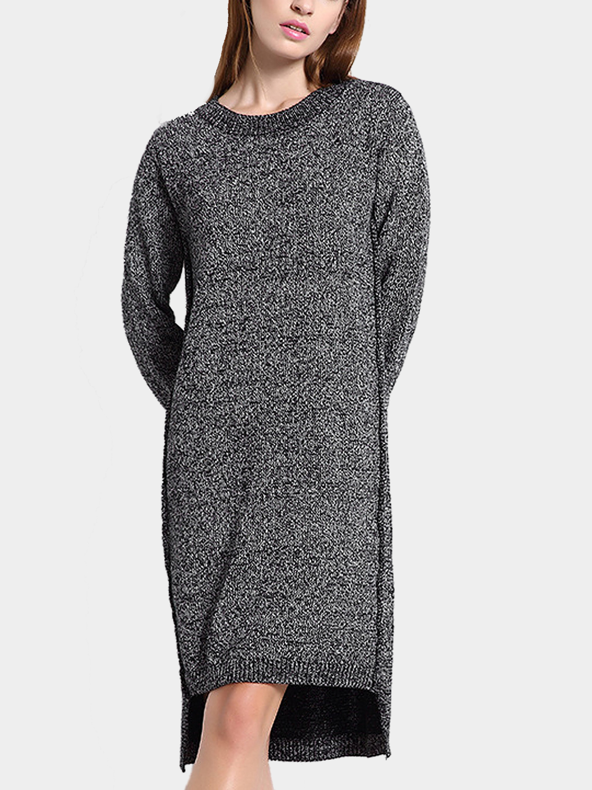 High Low Jumper Dress in Dark Grey