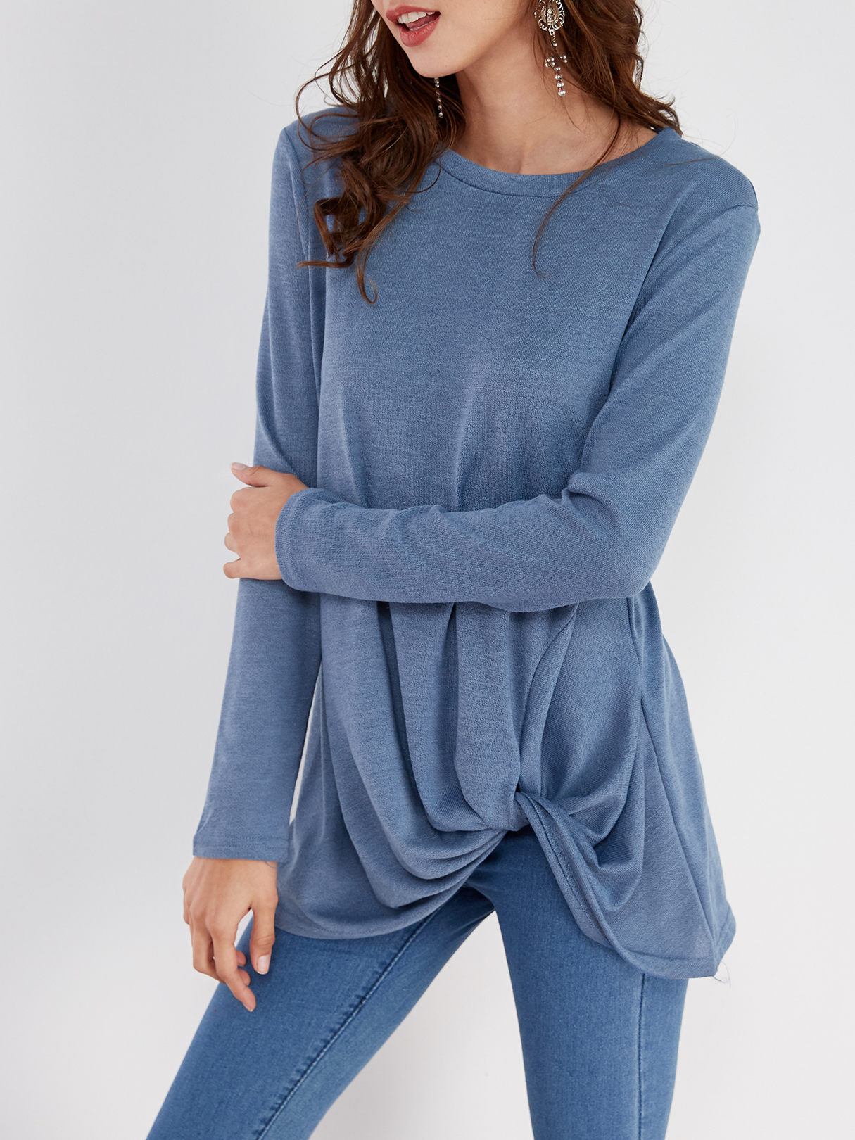 Blue Pleated Design Round Neck Long Sleeves T-shirts blue pleated design plain crew neck long sleeves t shirts