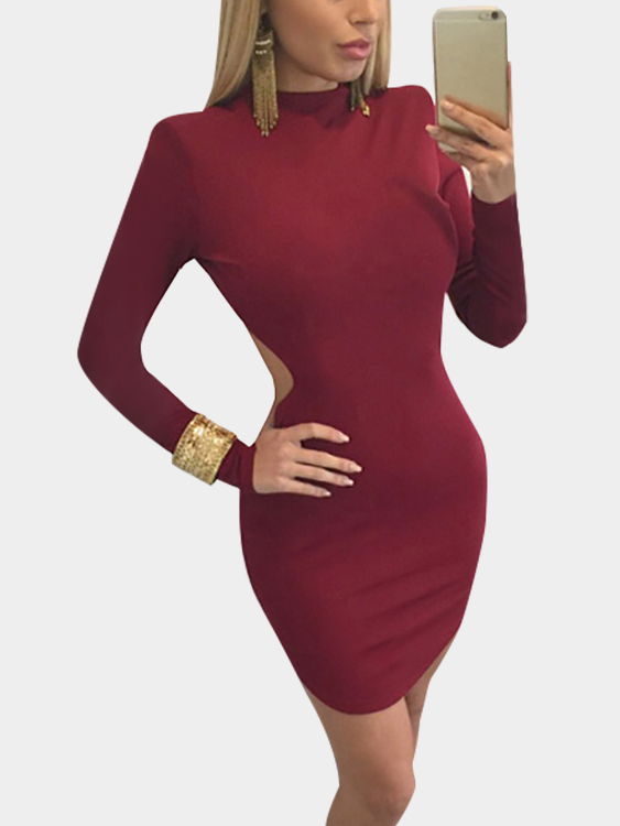 Burgundy Sexy Crew Neck Backless Bodycon Dress