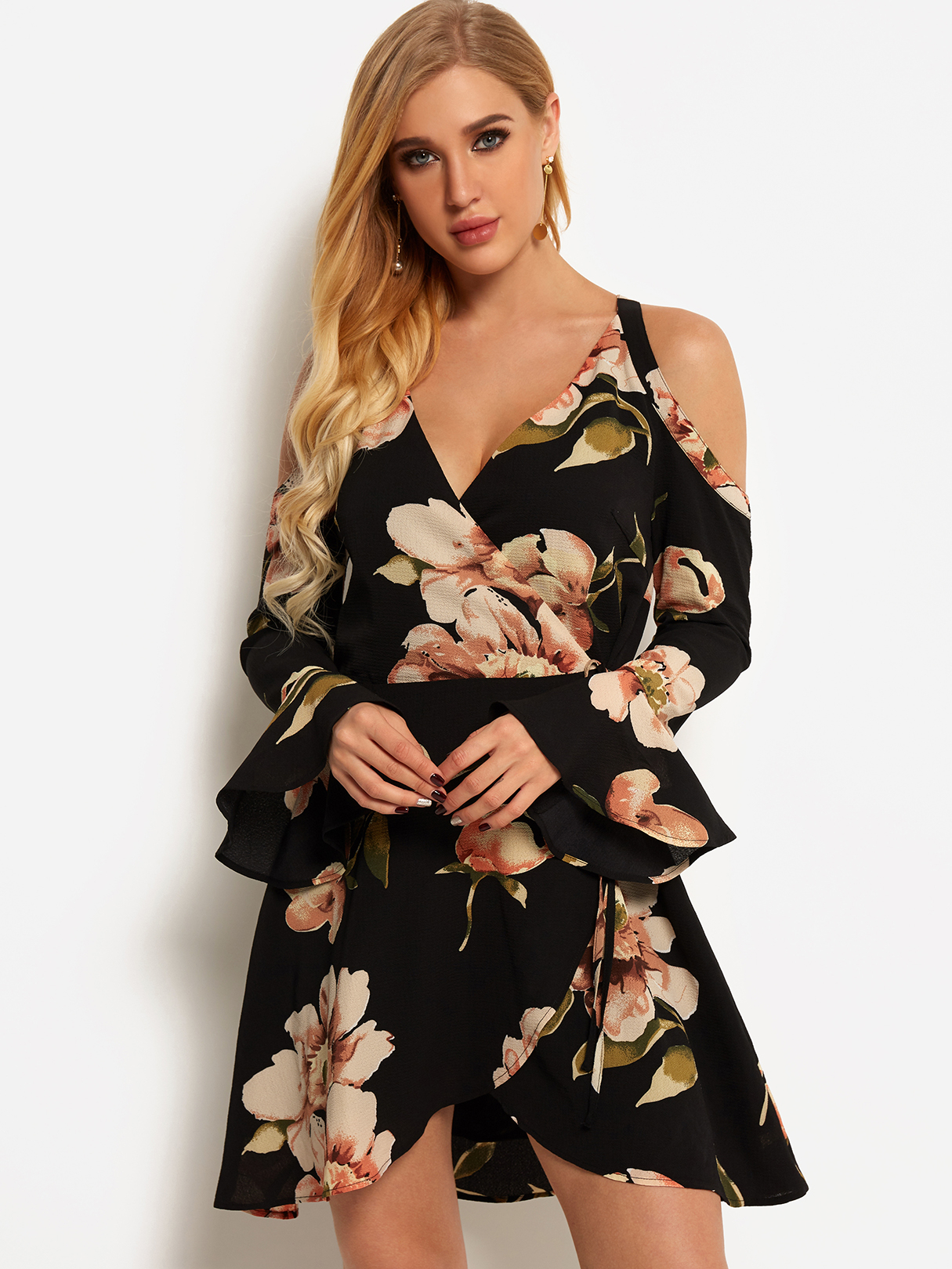 Black Criss-cross Random Floral Print Cold Shoulder Bell Sleeves Self-tie Design Dress