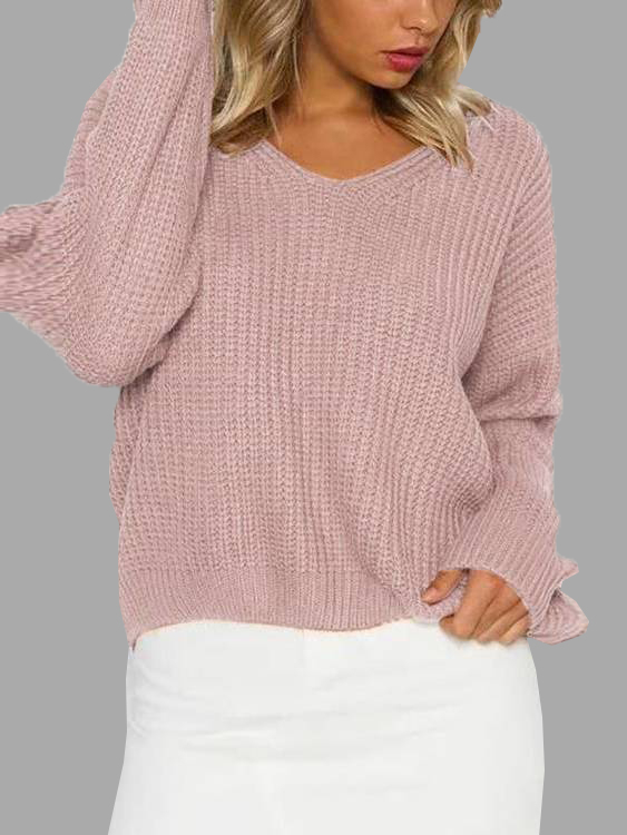 Pink Lace-up Back & V Neck Knitted Sweater twister family board game that ties you up in knots