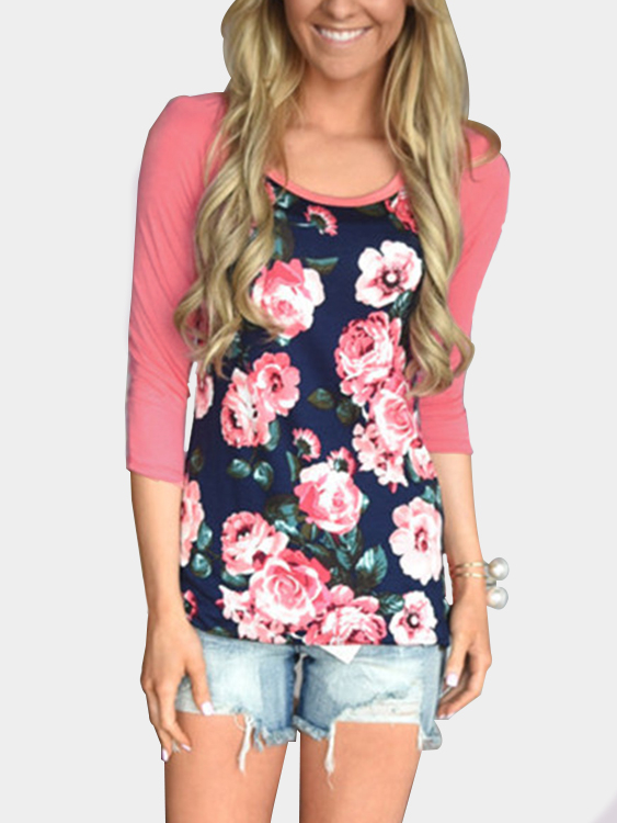 Pink Floral Print Patchwork Long Sleeves T-shirt grey floral print long sleeves casual sweatshirts