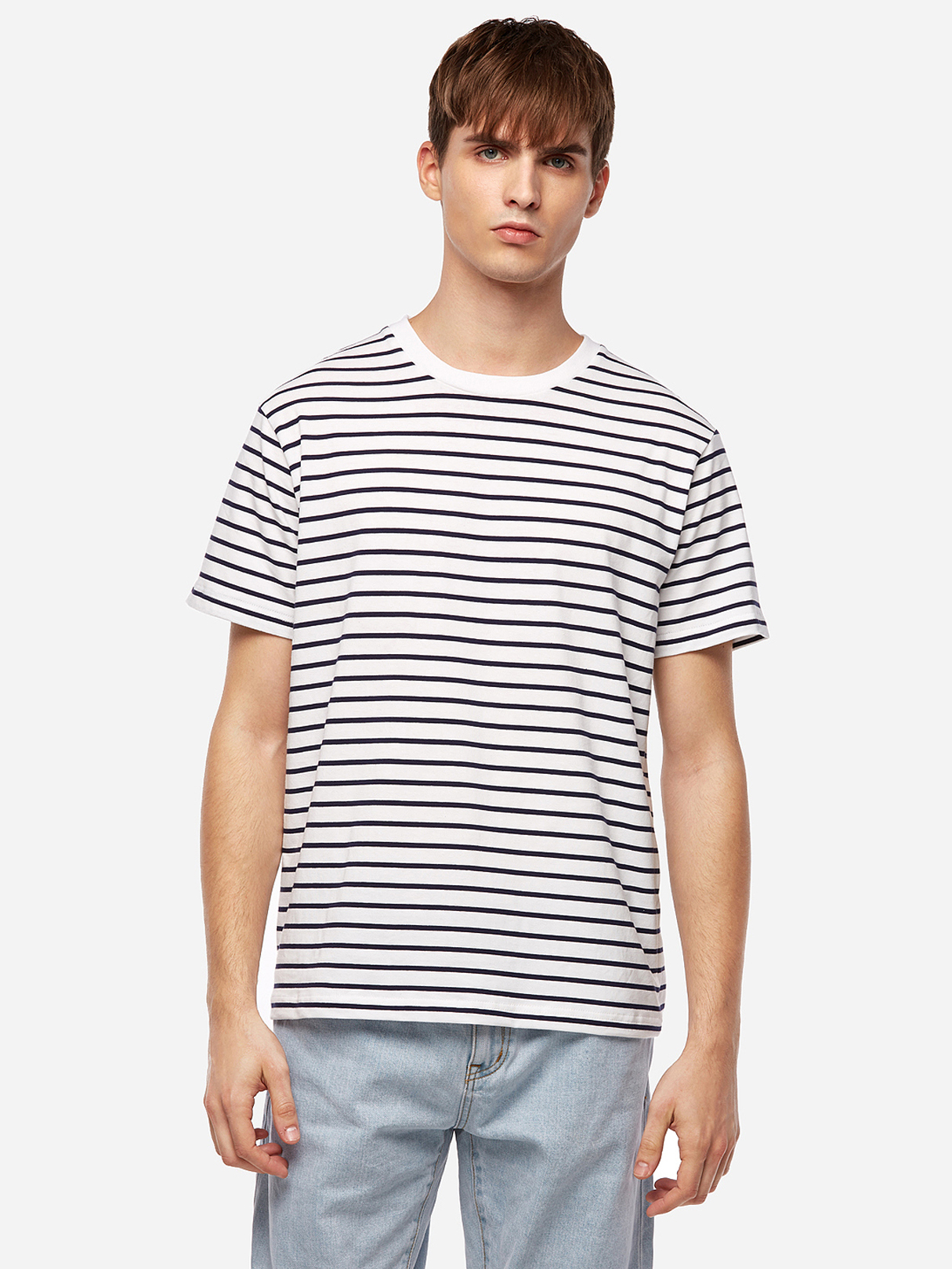 White Striped Daily Life Round Neck Short Sleeve Men's T-Shirt daily life chemistry