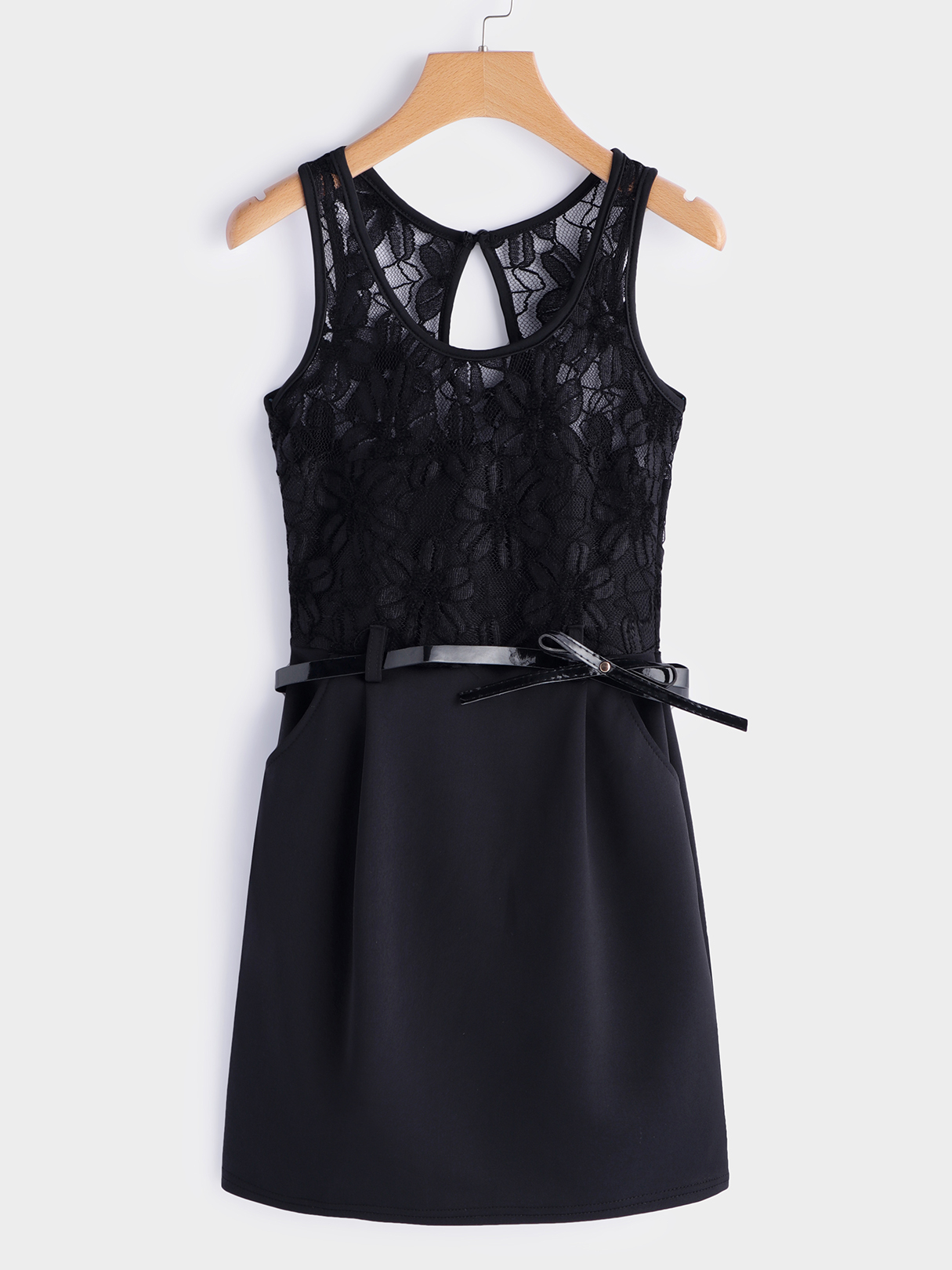 Black Sexy Lace details Round Neck Sleeveless Mini Dress lovely o neck lace flower girl dresses 2018 без рукавов кружева appliques bow belt princess pageant kids prom dress