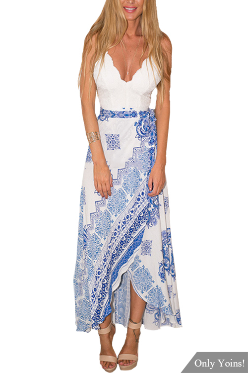 Back Lace-up Floral Print Wrap Front Maxi Dress