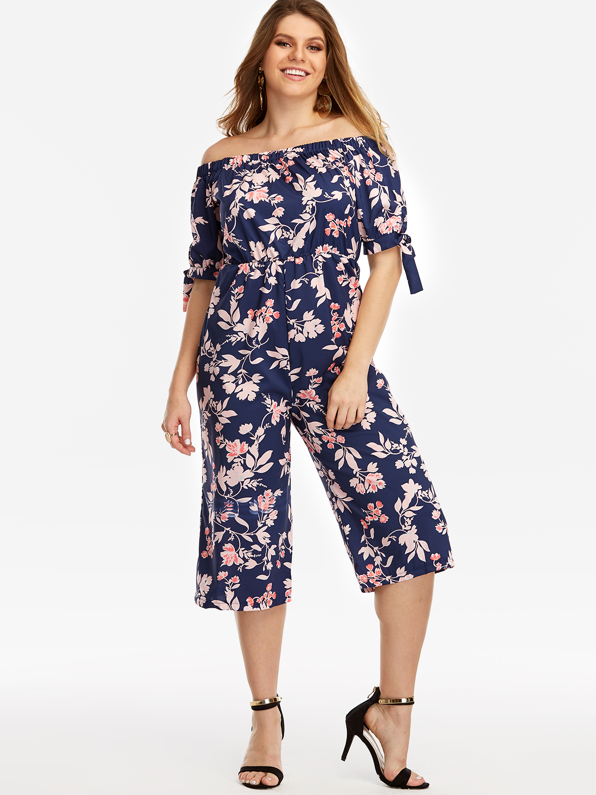 Navy Self-tie Design Floral Print Off The Shoulder Jumpsuit self tie split side camo jumpsuit