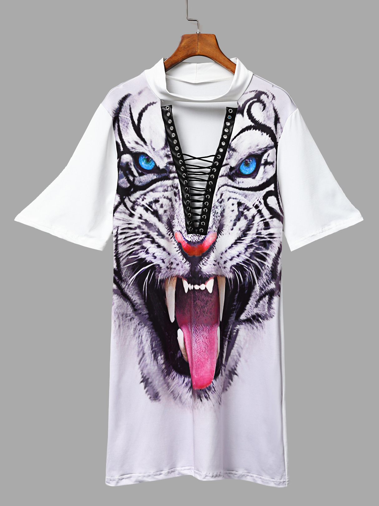 все цены на White Lace-up Design Tiger Pattern Choker Mini Dress