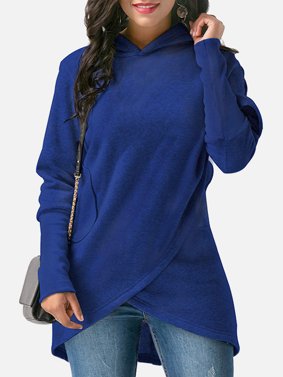 Blue Crossed Front Design Hooded Sweatshirts
