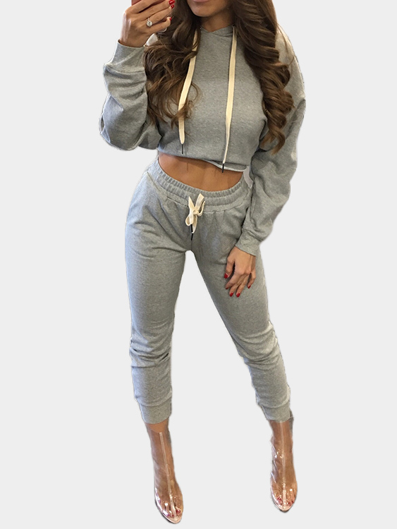 Grey Hooded Sling Sweatshirt Two Piece Outfits burgundy hooded drawstring sweatshirt two piece outfits