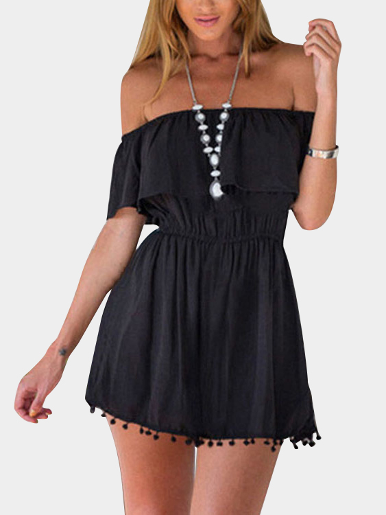 Black Front Layered Off Shoulder Dresses white layered elastic waist playsuit with tassel details