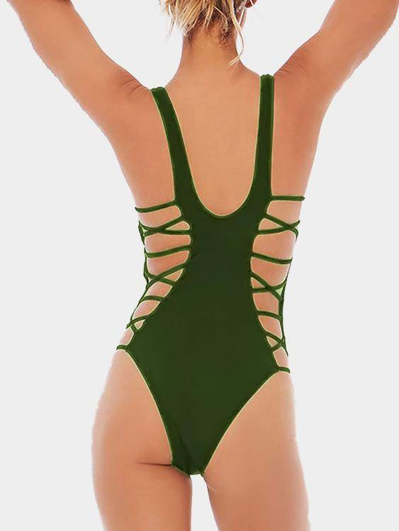 Army Green Sexy V-neck Lace-up Bodysuit