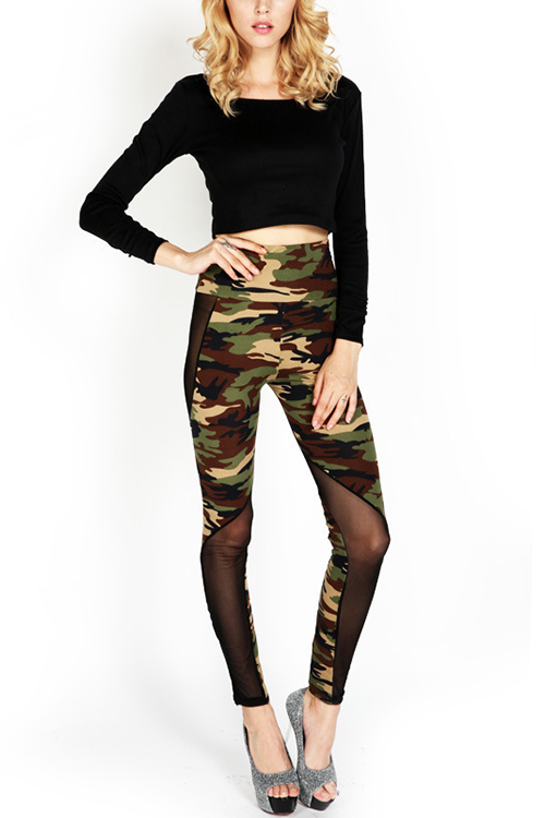 Military Mesh Details Fashion Leggings