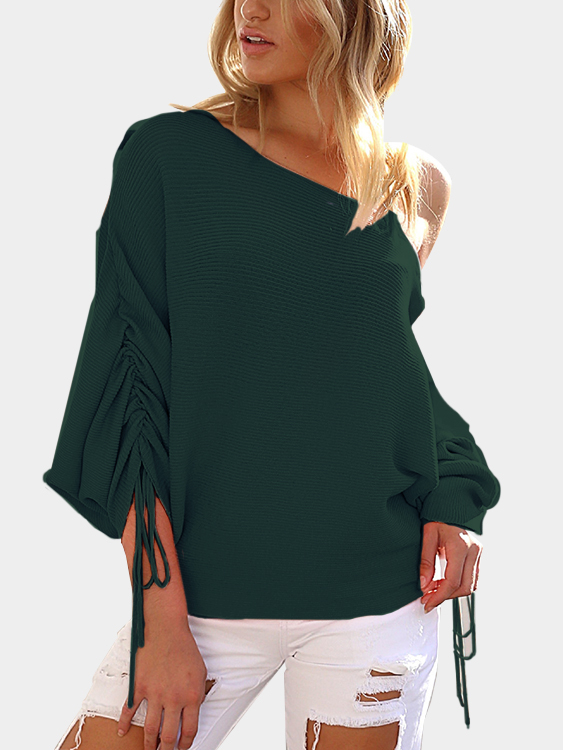 Dark Green Lace-up Design One Shoulder Long Sleeves Sweaters