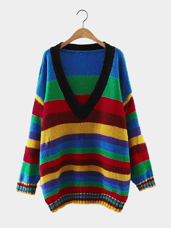 Loose Multicolor Strip Pattern Plunge Jumper multicolor stripe pattern round neck jumper