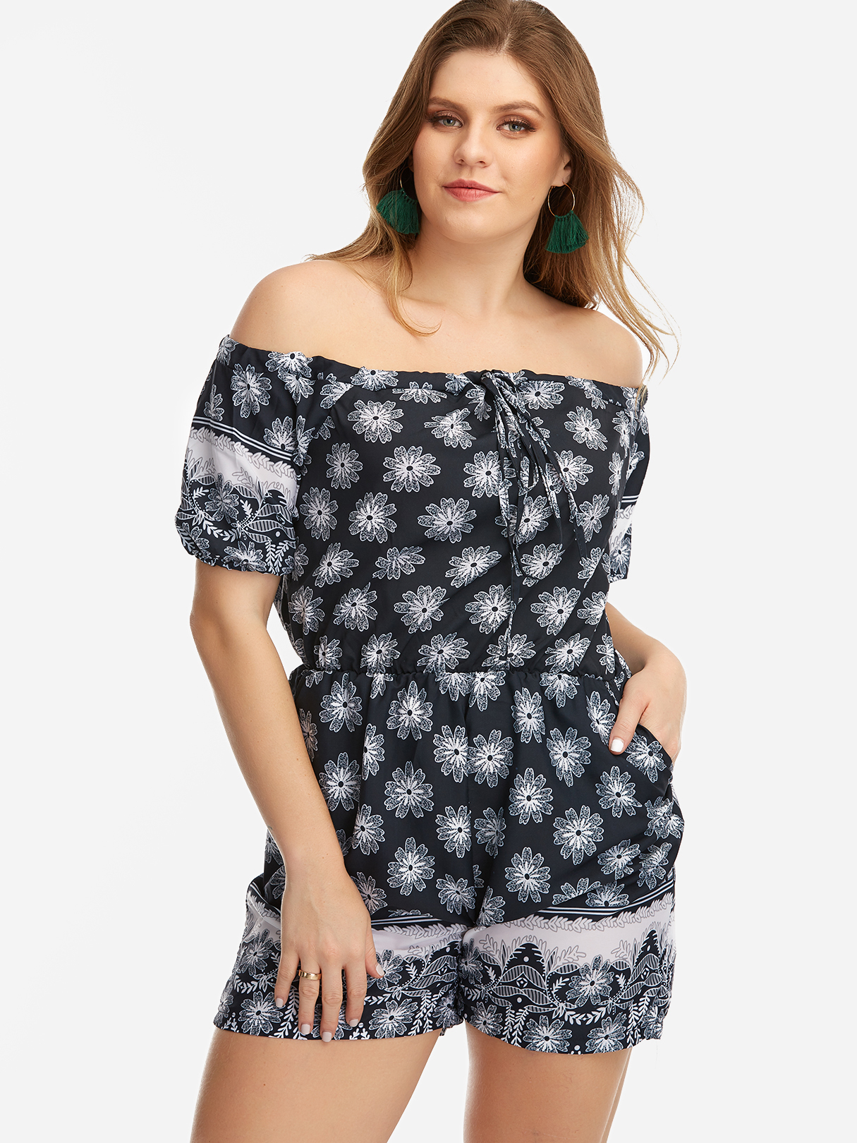 Multi Floral Print Off The Shoulder Romper charming off the shoulder floral print women s romper