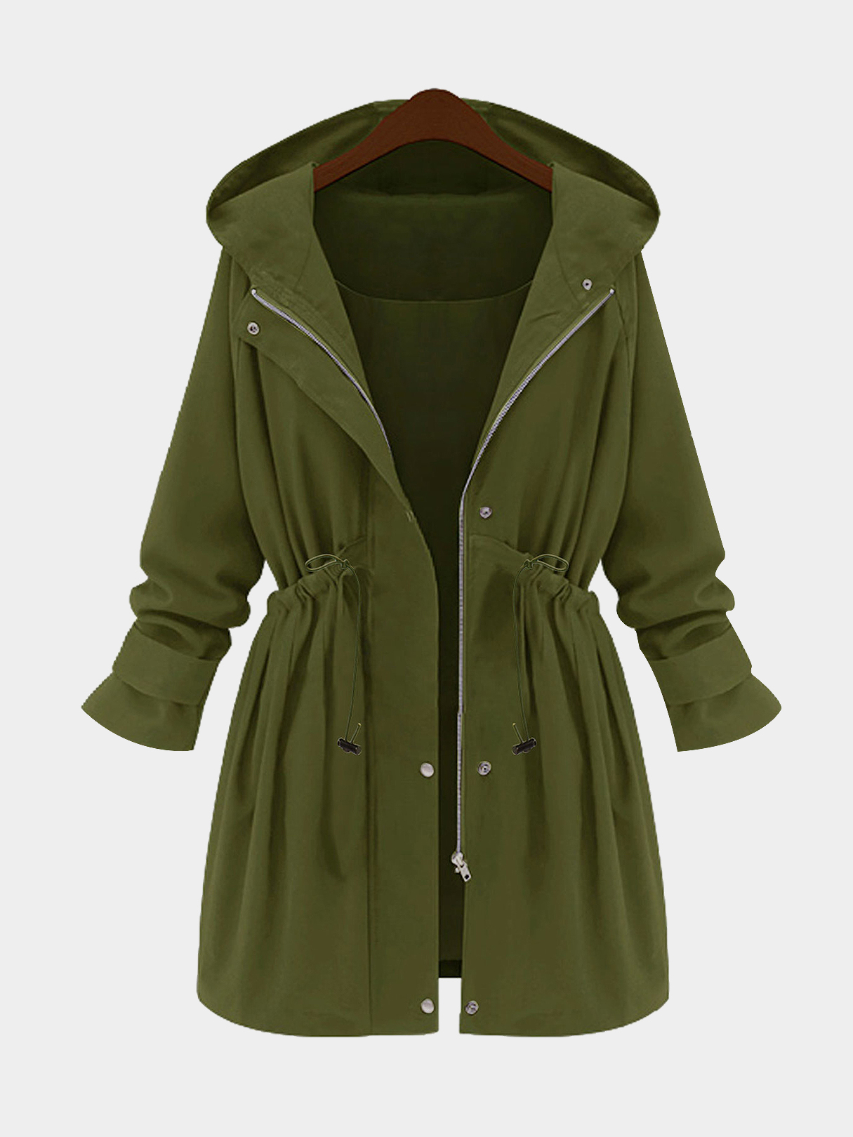 Plus Size Army Green Hooded Parka Coat