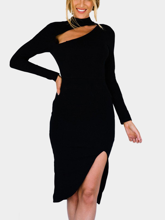 Black Sexy Long Sleeves Side Splited Dress with Cut Out Design