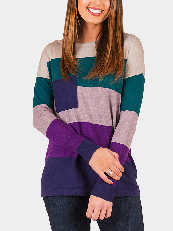Purple Stripe Color-stitching Round Neck Long Sleeves T-shirt blue stripe color stitching round neck long sleeves t shirt