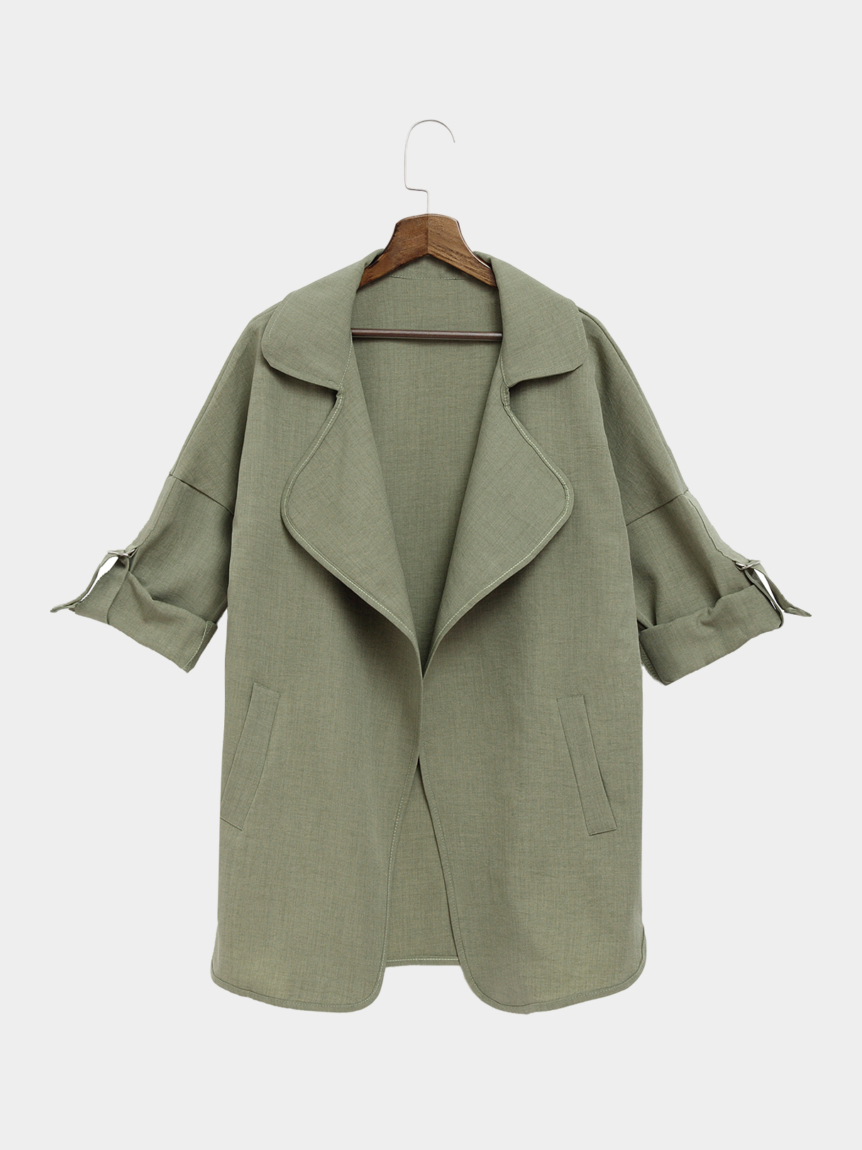 Army Green Trench Coat With Lapel Collar john mickel ferns for american gardens