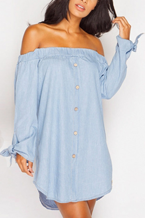 Light Blue Sexy Off-shoulder Bow Mini Dress