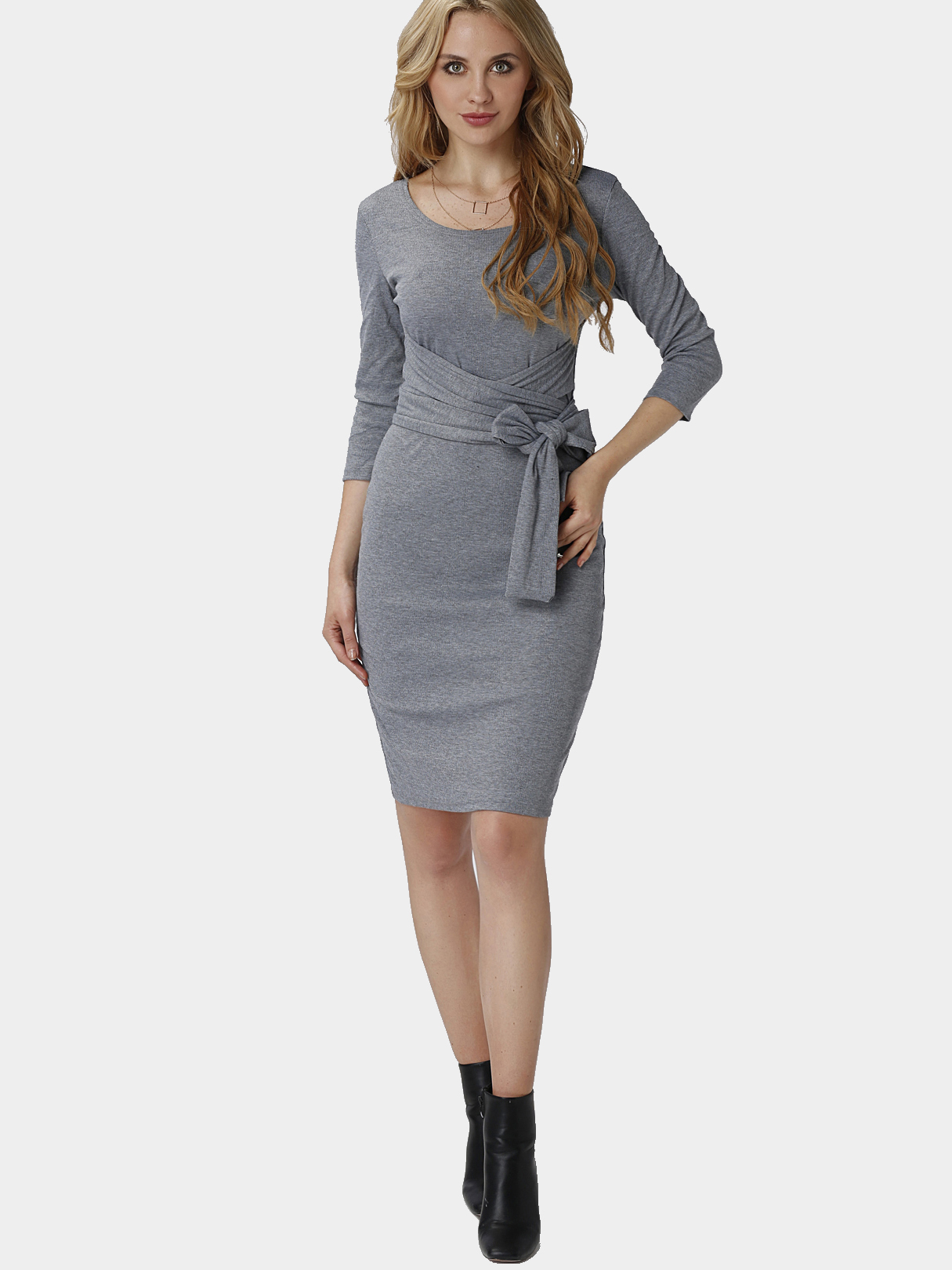 Grey Thread Round Neck Lace-up Design Party Dress
