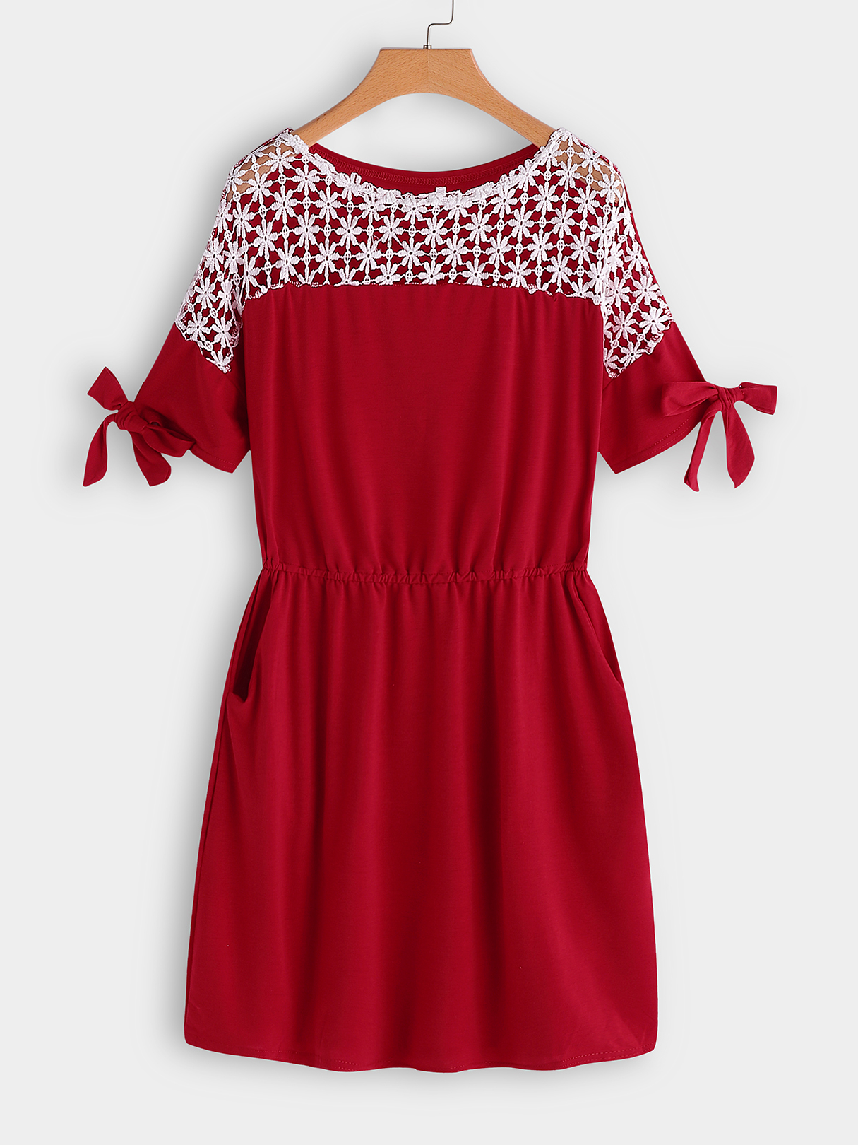Red Lace Insert Round Neck Short Sleeves Dress