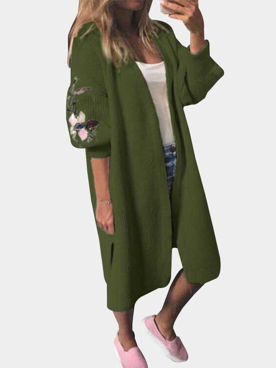 Army Green Embroidery Pattern Lantern Sleeves Knitted Cardigans игрушка bebelot мыльные пузыри 115ml beb0401 003