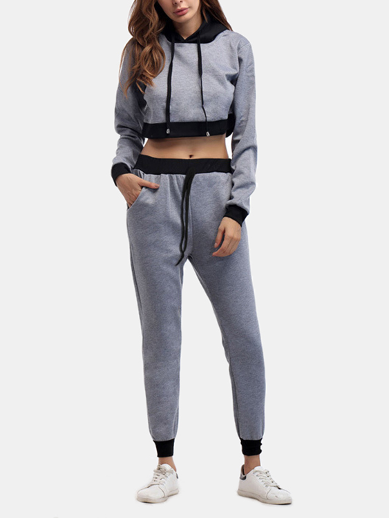 Active Cut Out Hooded Design Elastic Tracksuit in Grey active cut out hooded design elastic tracksuit in grey