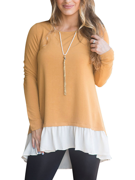 Yellow Round Neck Long Sleeves Flounced hem T-shirts цена