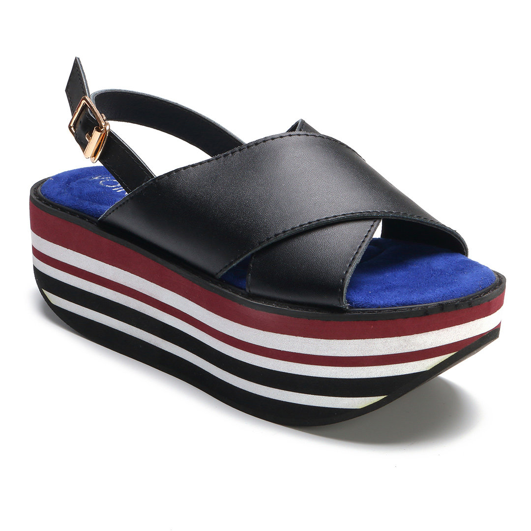 Black Stripe Cross Front Platfrom Sandals