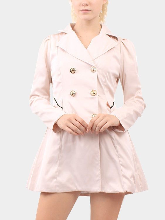 Apricot High Lapel Collar Coat with Button Embellished