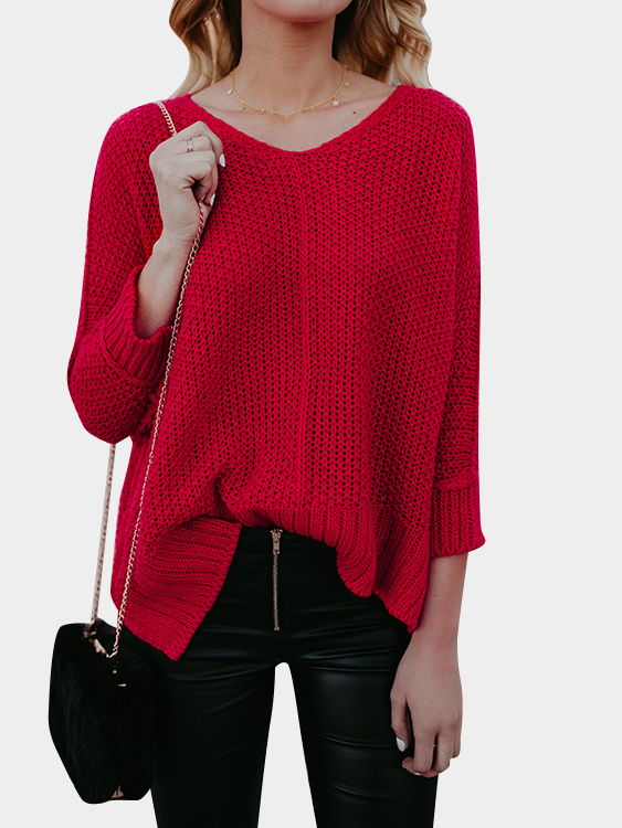 Red V-neck Long Sleeves Splited Hem Loose Sweaters