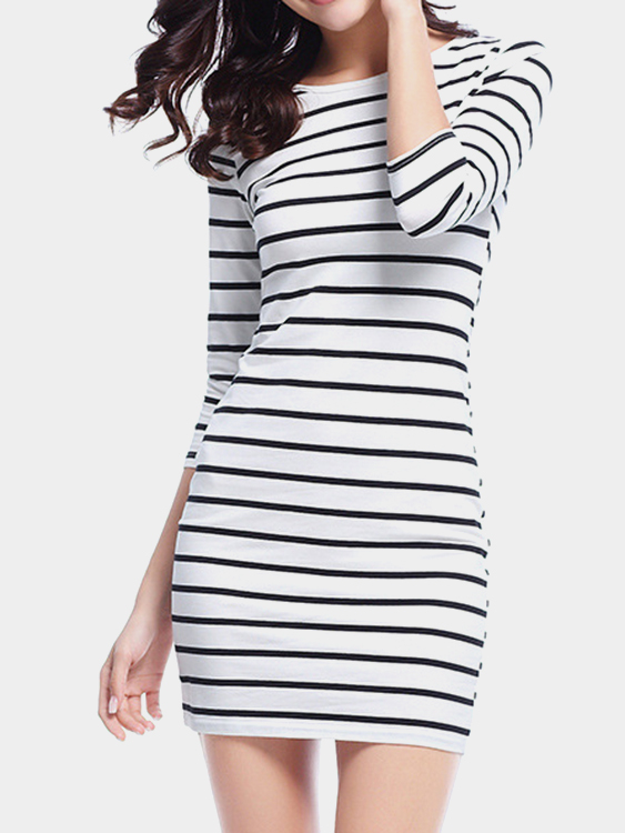 White Casual Stripe Round Neck 3/4 Length Sleeves Mini Dress white casual round neck ruffled dress