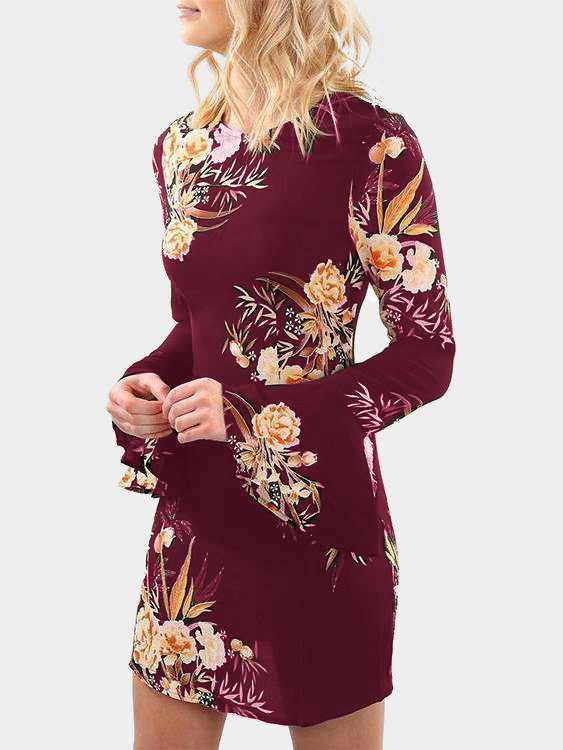 Burgundy Random Floral Printed Long Sleeves Mini Dress fashion round collar long sleeves floral print women s mini dress
