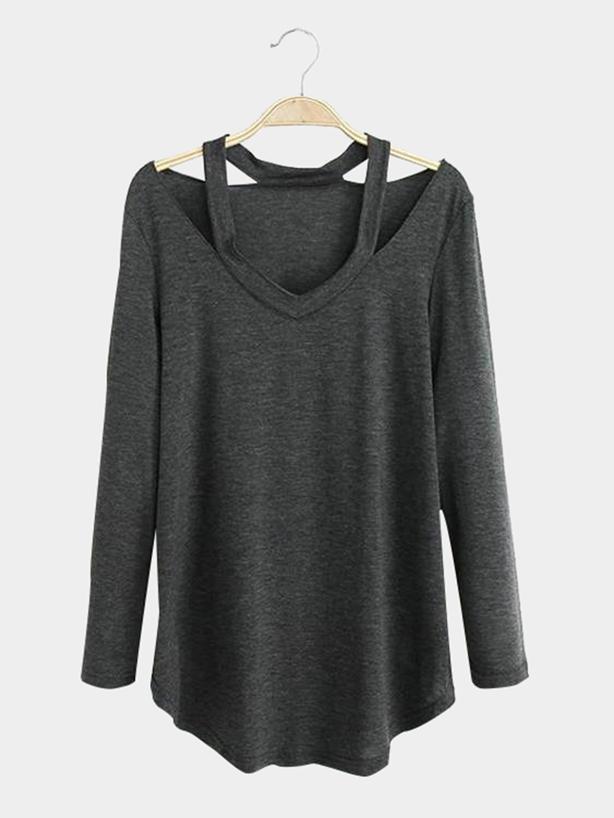 Brown Cut Out Design V-neck Long Sleeves T-shirt