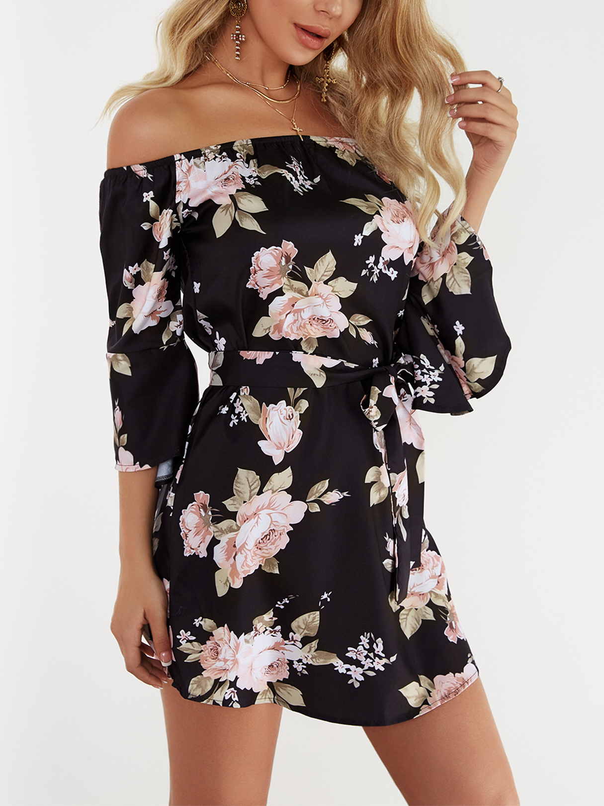 Black Lace-up Design Floral Print Off The Shoulder Long Sleeves High-waisted Dress fashion round collar long sleeves floral print women s mini dress