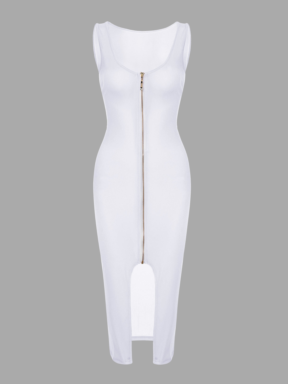 White Fashion Round Neck Zip Front Bodycon Cami Dress