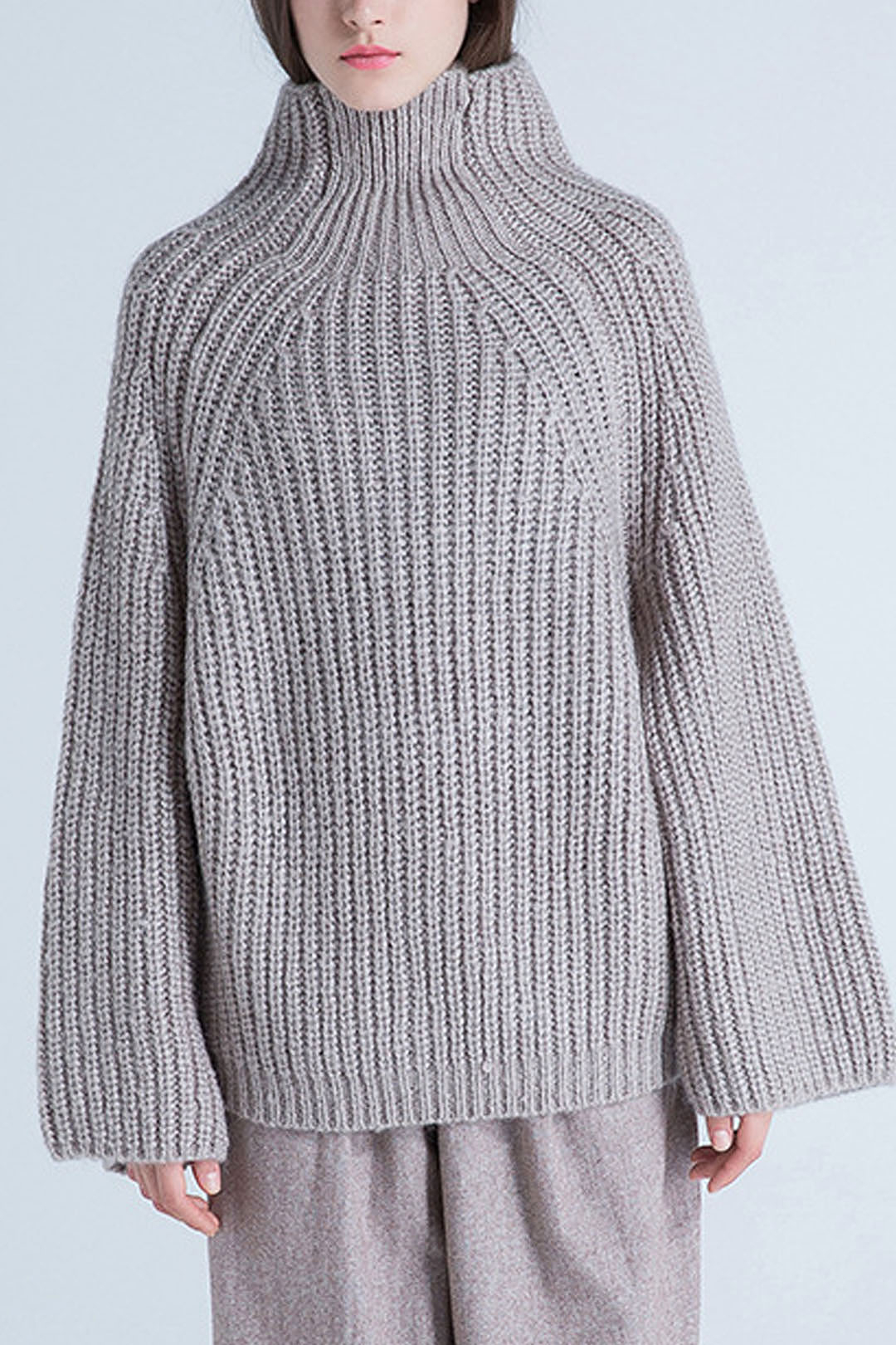 High Neck Knitted Jumper in Apricot